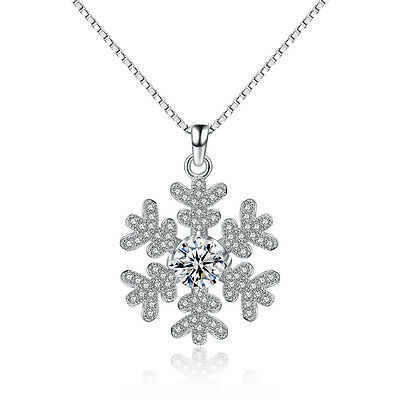 925 Sterling Silver Snowflake Pendant Necklace Womens Jewellery Christmas Gift