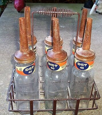 Standard Oil Motor Oil Glass Bottle 6 Set And Rack With Spouts