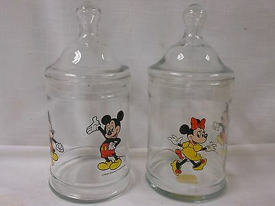Vintage Set Mickey Minnie Mouse Glass Jar Canisters w/ Lid