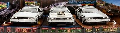 Back To The Future Trilogy De Lorean Die Cast Car Set New Boxed Free Post Welly