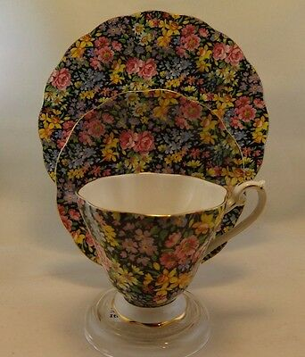 Vintage 1950's Royal Standard chintz black tea cup and saucer,Lunch Plate Trio