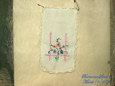 Antique Beautiful French Hand Embroidery Flowers Off White Linen Doilies