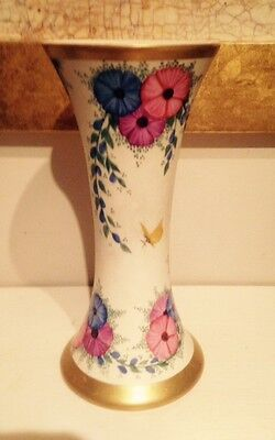 May Wilson Scottish Lady Artist Hand Painted Vase With Butterflies