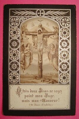 79. Antique Funeral Holy Card Silvered 1858†1912
