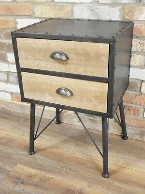 Bedside Table Industrial Retro Style, Office Study Drawer