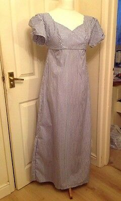 "Ladies Jane Austen Regency Dress Gown Size 34"" Bust Blue And White Stripes"