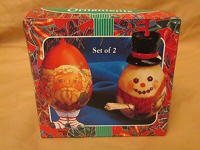 New Vintage Decoupage Paper Mache Christmas Ornament Set of 2 Egg Santa Snowman