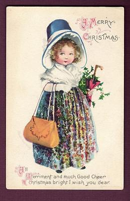 "Clapsaddle  ""A Merry Christmas"" ~ Young Girl in Christmas Dress  #505 ~ HNO 8"