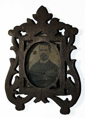 Small Civil War Era Antique Carved Wood Photograph Frame w/Tintype photo
