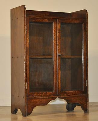 Attractive Small Vintage Oak Double Glazed Door Bookcase Side Cabinet