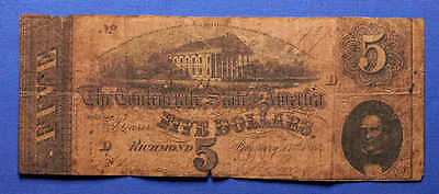 1864 $5 Confederate States of America Five Dollar Note. Civil War! No Reserve