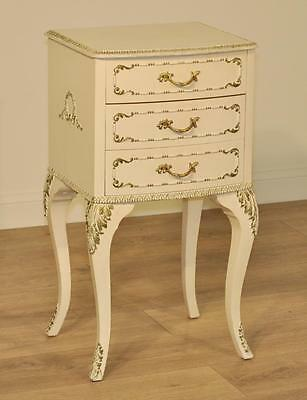 Attractive Small Vintage French Style White Painted Bedside Cabinet Chest