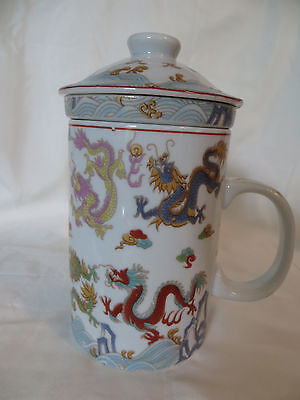 Dragon ceramic porcelain tea cup with infuser and lid