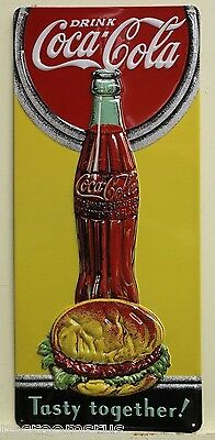 COCA COLA heavy embossed metal sign tasty together hamburgers and coke 2180091