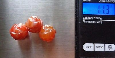 Lot of 3 Vtg Chinese Eternity Knot Carved Carnelian  Round Beads