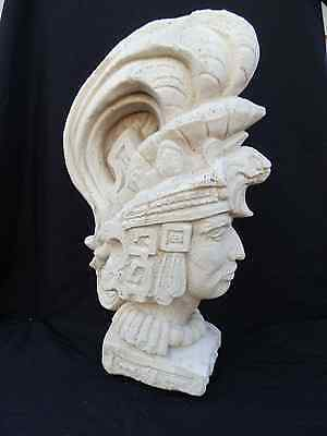 Antique Victorian Era Carved Limestone Architectural Bust Inca Aztec Warrior 19c
