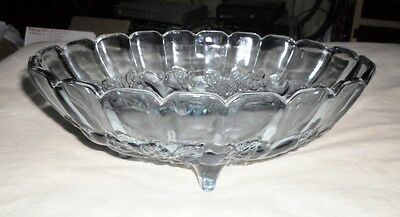 INDIANA GLASS BLUE CARNIVAL OVAL FRUIT BOWL Footed