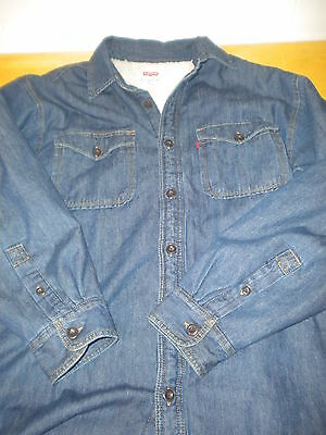 Vintage Levis Sherpa Lined Jean Jacket Shirt -  Men's L