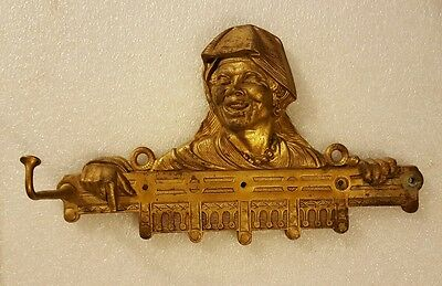 Vintage BRASS COLOR CAST IRON COAT / HAT HOOK * TRIBESMAN / WOMAN ? * INCREDIBLE