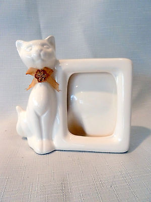"Cat Picture Frame Ceramic White 5 inches x 5 inches picture space 3 1/2""   x 2"""