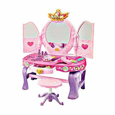 Girls Pink Vanity Glamour Mirror Makeup Dressing Table With Stool Doll Princess