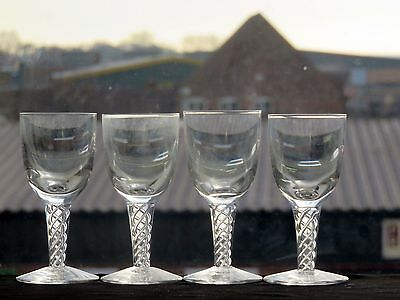 "Stuart Crystal Cut ""ariel"" Pattern Sherry Glass Set Of 4 - Signed"
