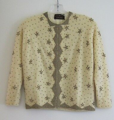 Vintage Women's Cashmere Beaded Sweater, Size 40