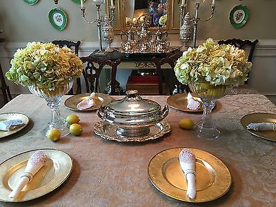 Antique 19th Century Molded Glass Centerpiece Compotes Bowls Pair