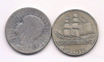 1933 & 1936 Poland Silver 2 Zloty Coins--Very Strong Details !!
