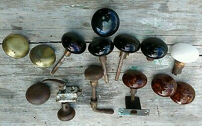 Porcelain & Metal Door Knobs Lot Hardware Screen Door Latch