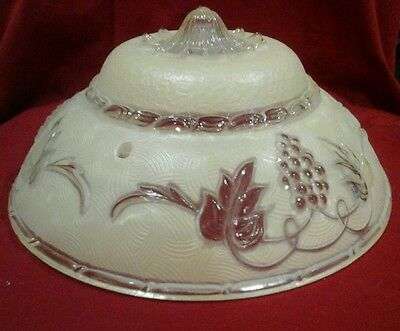 Antique Frosted Glass Ceiling Light Shade Grape & Leaf Design