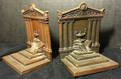 Weidlich Bookends Lamp & Temple of Knowledge Vintage Ancient Architecture