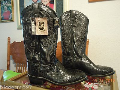 Dan Post Black Leather Python Cowboy/ Cowgirl Boots Size 8