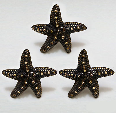 Lot of 3 pcs Solid Brass Vintage STARFISH Flower Cabinet Brass KNOB Drawer Pulls
