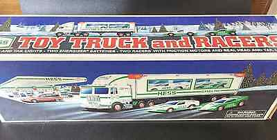 1997 HESS TOY TRUCK AND RACERS CARS in box