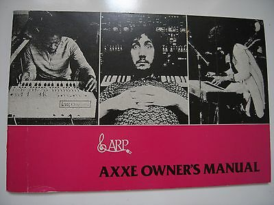 Arp Axxe Owner's Manual Original 39 Pages, Usa, 20 Illustrated Patch Settings
