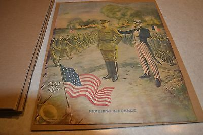 Vintage  WW1 Lithograph Poster 1917 EG Renesch Pershing in France