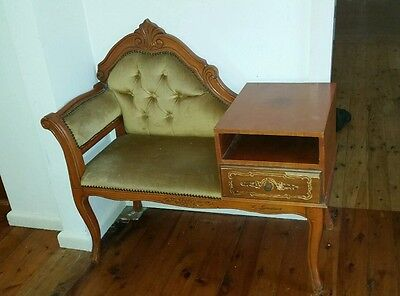 Antique Style  Hall / Telephone Chaise With Table Attached.