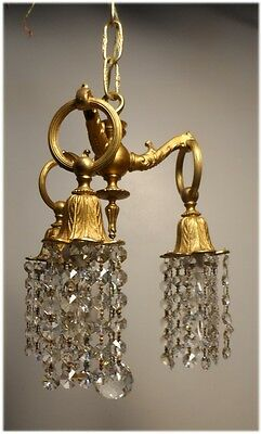 Vintage Gold Dore Brass and Czechoslovakia Prisms Petite Chandelier