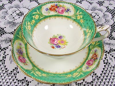 Royal Paragon Emerald Green Floral Wide Tea Cup And Saucer