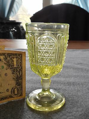 Antique Bryce Bros Canary Yellow Vaseline Fine Cut And Panel Wine Cordial