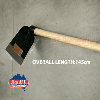 140cm Flat Hoe With Wooden Handle Flat Mattock Gardening Farming Hand Tool NEW