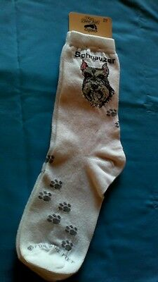 Schnauzer Socks Head and Pawprints by For Bare Feet NWT