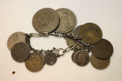 Vintage Coin Bracelet Silver Copper Bust Seated Foreign