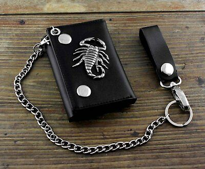Men's Boys Gift Real Leather  Biker Trifold Momey wallet with chain Scorpion