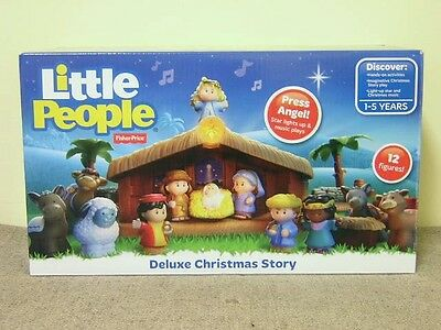 """New Fisher-Price """"Little People"""" Deluxe Christmas Story Set; Lights & Music"""