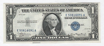 Lightly Circulated 1935 Plain $1 Silver Certificate--Double Date, Ships Free