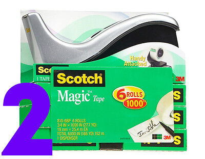 Scotch Magic Tape, 3/4 x 1000 Inches, Boxed, 2X6 Rolls (810K12), FREE SHIPPING