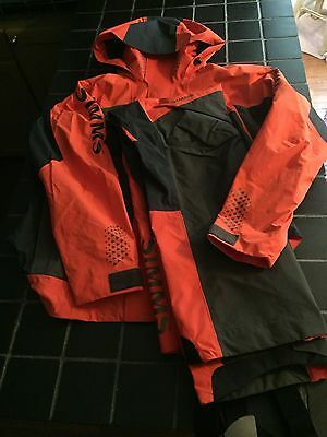 NWT Simms Challenger Jacket and Bib Suit, Fury Orange, Size L, Bass Fishing