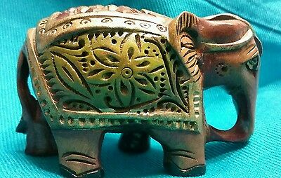 Hand Carved and painted Wood Elephant figurine statue GOOD LUCK Charm